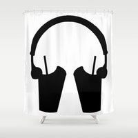 headphones Shower Curtains featuring Milkshake Headphones by Milkshake Clothing