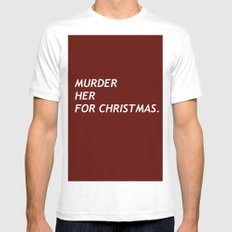 MURDER HER FOR CHRISTMAS. MEDIUM White Mens Fitted Tee
