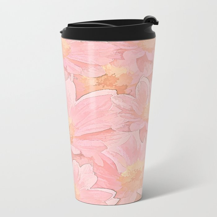 Pretty In Pink Painterly Floral Metal Travel Mug