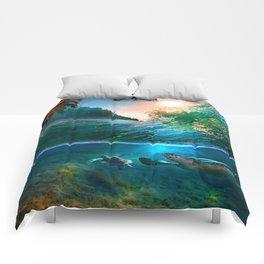 Palm Tree - Waves - Turtles - Beach - Ocean Comforters