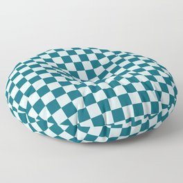 Pale Blue and Tropical Dark Teal Small Checker Board Pattern Inspired by Sherwin Williams 2020 Trending Color Oceanside SW6496 Floor Pillow