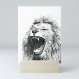 Black White Fierce Lion Mini Art Print