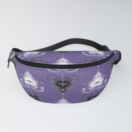 Ornament medallions - Black and white fractals on ultra violet Fanny Pack