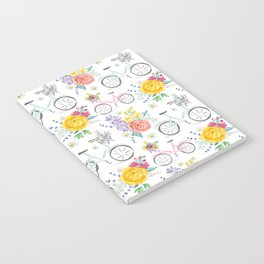 Bike and bouquets pattern Notebook