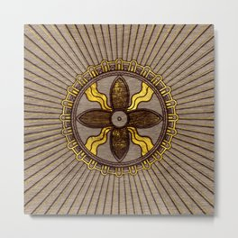 Seal of Shamash - Wood burned with gold accents Metal Print