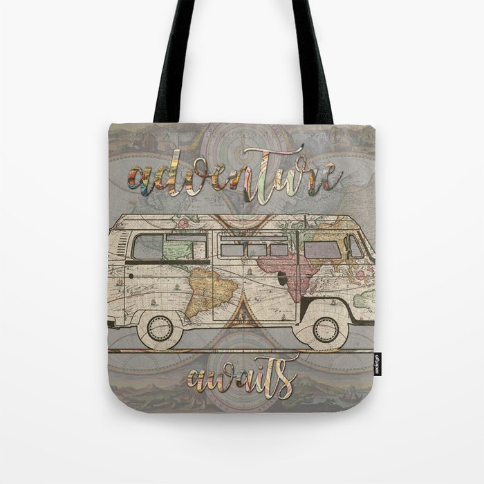 adventure awaits world map design 1 Tote Bag