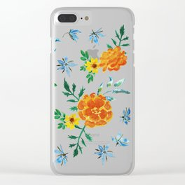 Dark Floral: Marigolds and Borage Clear iPhone Case