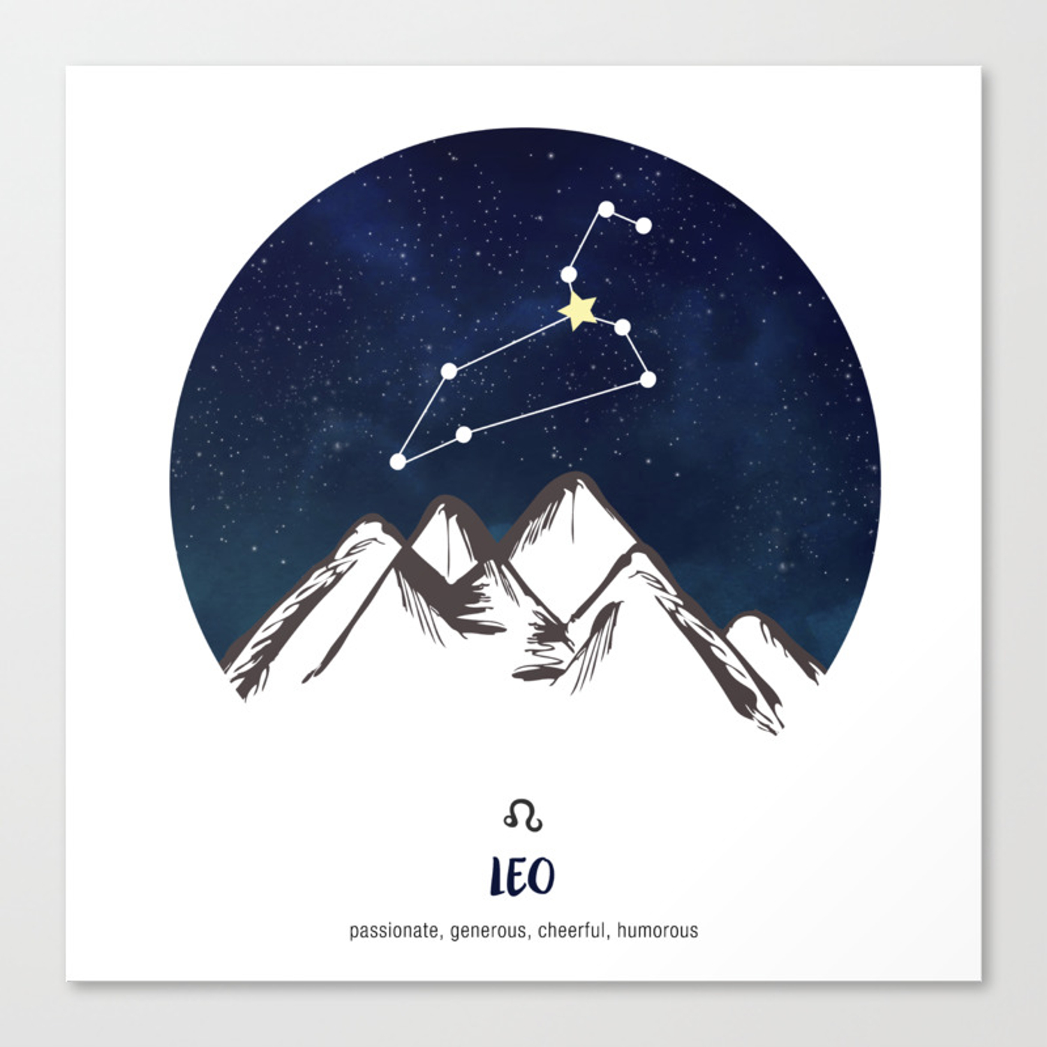 Constellations Water Color Painting Star Sign Decor Canvas Framed Print Leo Zodiac Wall Art
