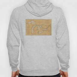 Vintage Map of The Great Lakes (1921) Hoody