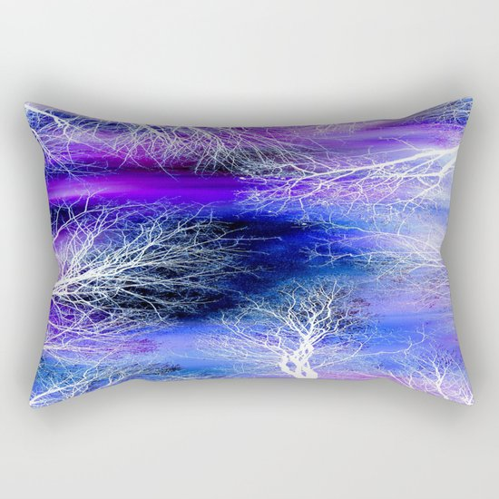 Midnight Trees Purple Blue Rectangular Pillow