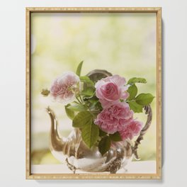 Pink English Roses in a silver Pot- Vintage Rose Stilllife Photography Serving Tray