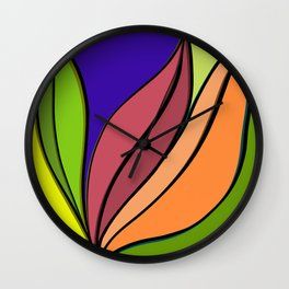 Colourful abstract plant artwork  Wall Clock