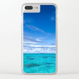 South Pacific Crystal Ocean Dreamscape with Boat Clear iPhone Case