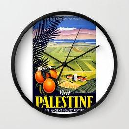 Palestine, vintage travel poster Wall Clock