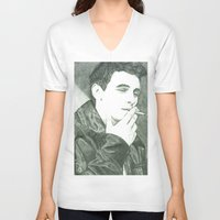 james franco V-neck T-shirts featuring Mr Franco by Troy Salmon Art