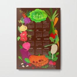 Veggie Calender 2016-brown Metal Print