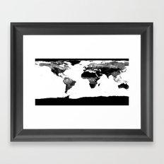World Map  Black & White Framed Art Print