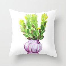 Succulent Vase Throw Pillow