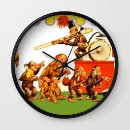 Retro Circus Poster - Monkeys Wall Clock