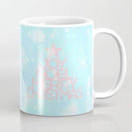Joy, Noel, Merry Christmas and Star pattern - pink on aqua Coffee Mug