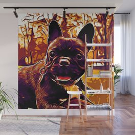 french bulldog basketball vector art late sunset Wall Mural