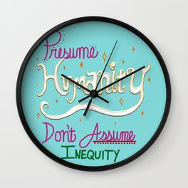 Presume Humanity - blue Wall Clock