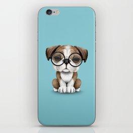 Cute English Bulldog Puppy Wearing Glasses on Blue iPhone Skin