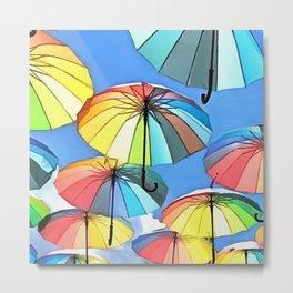 Floating Umbrella Sky Metal Print