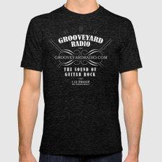 Grooveyard Radio Logo X-LARGE Tri-Black Mens Fitted Tee