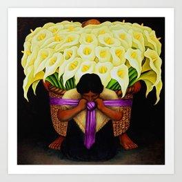 El Vendedor de Alcatraces (Lily Flower Seller with pink sash) by Diego Rivera Art Print