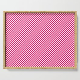 Mini Hot Neon Pink and White Candy Cane Stripes Serving Tray