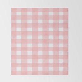 Pink Gingham Design Throw Blanket