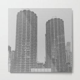 Marina Towers - Chicago - Grey Metal Print
