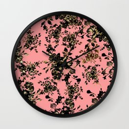 Vintage Modern Black Gold Pink Chic Floral Wall Clock