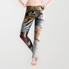 Tiger Roaring Wild Jungle Animal Leggings