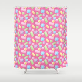 Colorful Doodle Gems Pattern on a Bright Pink Background Shower Curtain