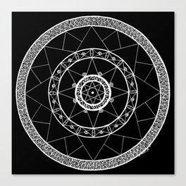 Zen Star Mandala - Black White - Square Canvas Print