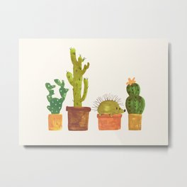 Hedgehog and Cactus (incognito) Metal Print