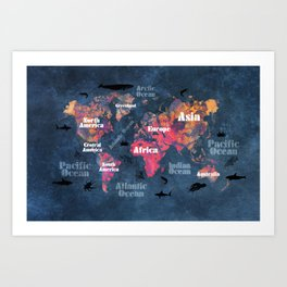 world map 115 #worldmap #map Art Print