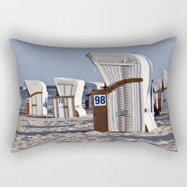 White Beach Chairs on the Isle of Ruegen Rectangular Pillow