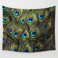 peacock feather Wall Tapestries featuring Peacock Feather  by custompro