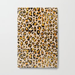 watercolor leopard pattern Metal Print