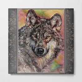 Portrait of a Gray Wolf Metal Print