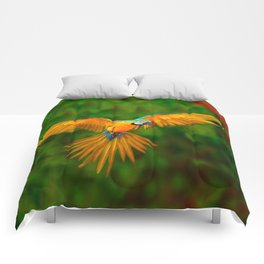 Flying Golden Blue Macaw Parrot Green  Art Comforters