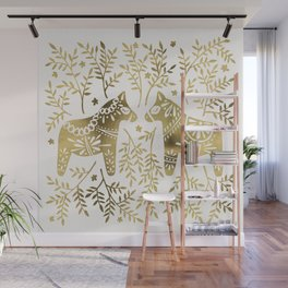 Swedish Dala Horses – Gold Palette Wall Mural