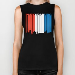 Red White And Blue Parkersburg West Virginia Skyline Biker Tank