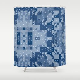 HERITAGE holiday blue quilt white snowflakes Shower Curtain