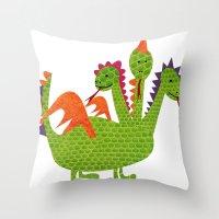 dragon Throw Pillows featuring dragon by BruxaMagica