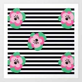 poppies stripes Art Print