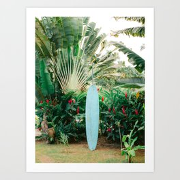 The blue surfboard | Travel photography print | The Dominican Republic Art Print